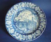 Rare and Lovely Clews 'River Scene with Fort' Dinner Plate c1820